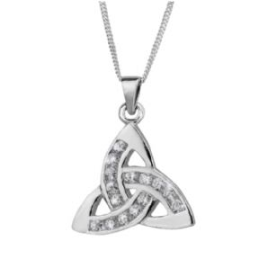 Celtic Trinity Knot Silver Pendant with Cubic Zirconia 0573